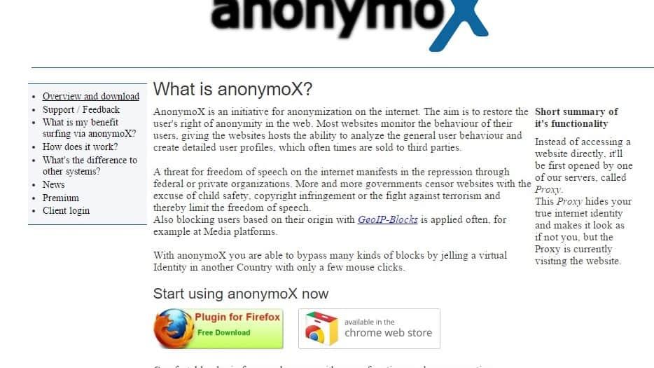 فتح المواقع المحجوبة عن طريقة إضافة anonymoX