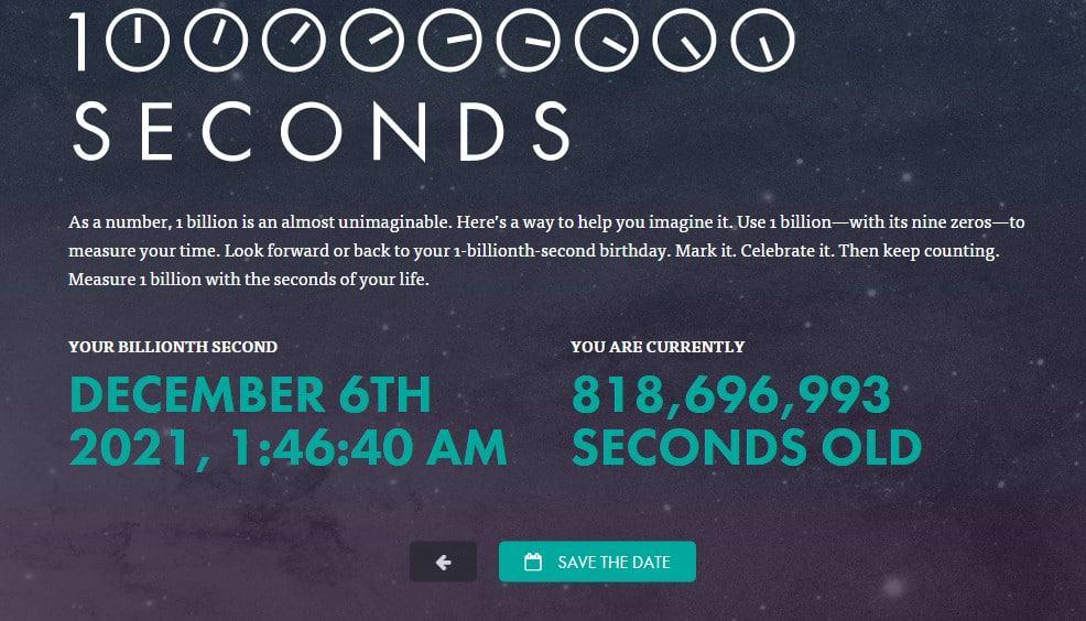 هل تعرف متي سيصل عمرك إلي مليار ثانية وكم ثانية عشت حتى الآن !! هذا الموقع سيخبرك 2