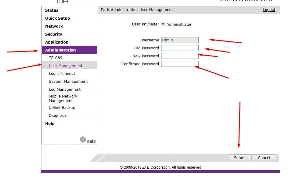 تغيير باسورد الراوتر TE Data و TP-Link