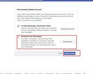 خطوات مسح حساب فيس بوك