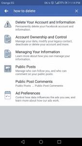 طريقة حذف حساب فيسبوك على الاندرويد