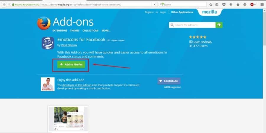 إضافة رموز الفيس بوك Facebook Emoticons لمتصفح Firefox