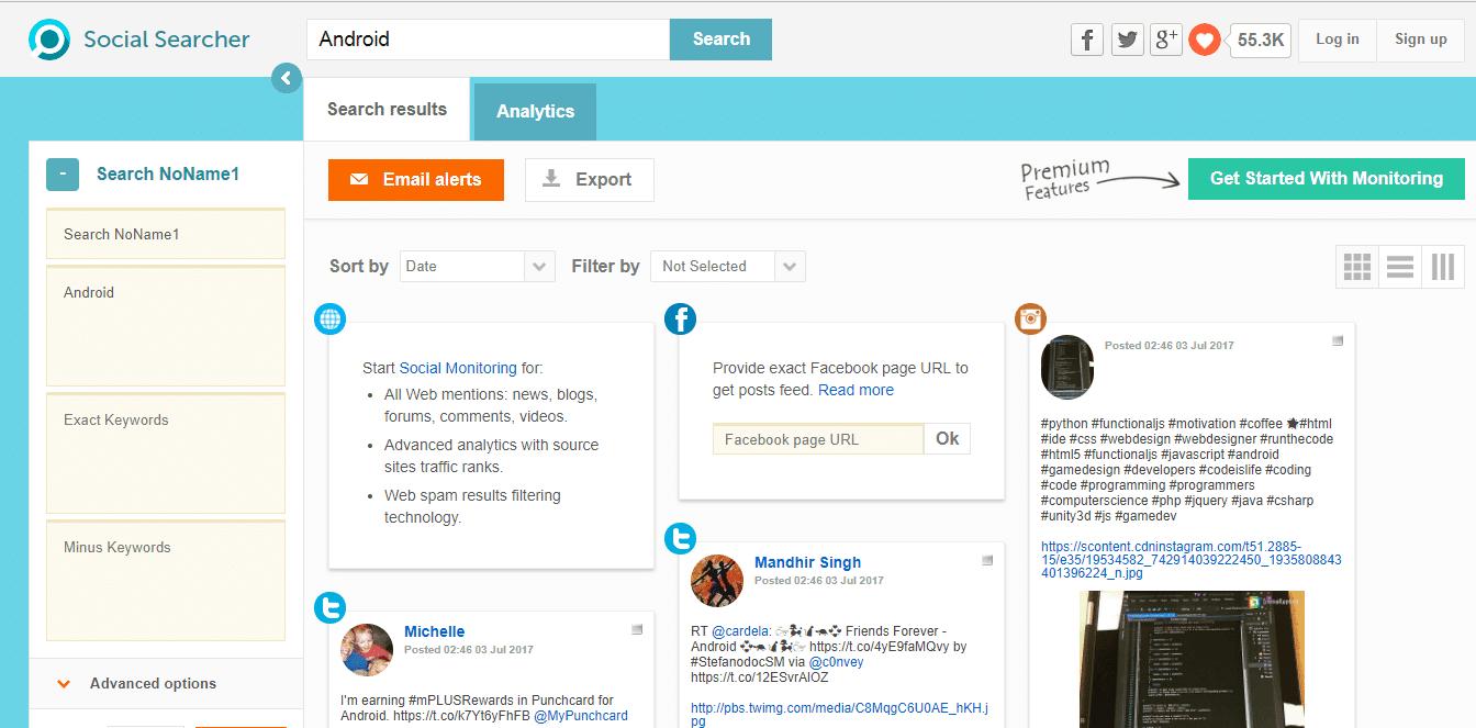 ابحث من خلال Social Searcher