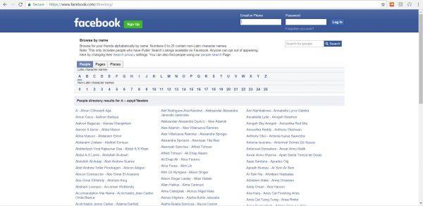 بحث في فيسبوك بدون حساب