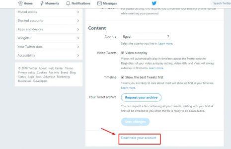 حذف حساب تويتر بطريقة بسيطة
