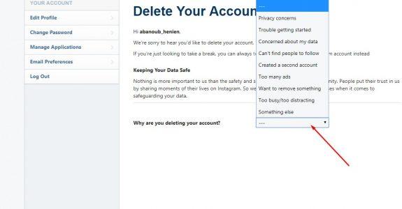 طريقة حذف حساب انستقرام