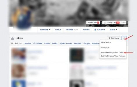 اخفاء اعجاب الصفحات من فيس بوك