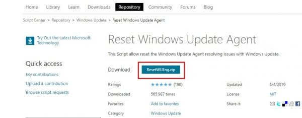 تحميل أداة Reset Windows Update Agent