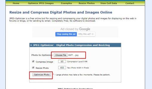 موقع JPEG Optimizer