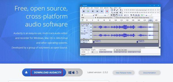 تحميل اداة Audacity لدمج ملفات الصوت
