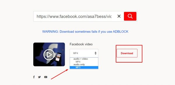 طريقة سحب الملف الصوتي من فيديوهات الفيسبوك