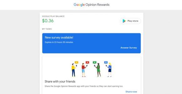 الربح من تطبيق Google Opinion Rewards